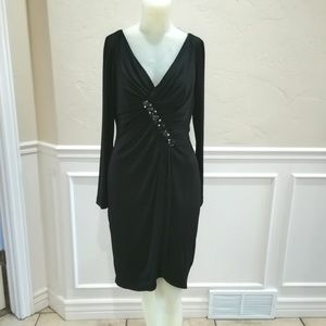 David Meister black jeweled gown